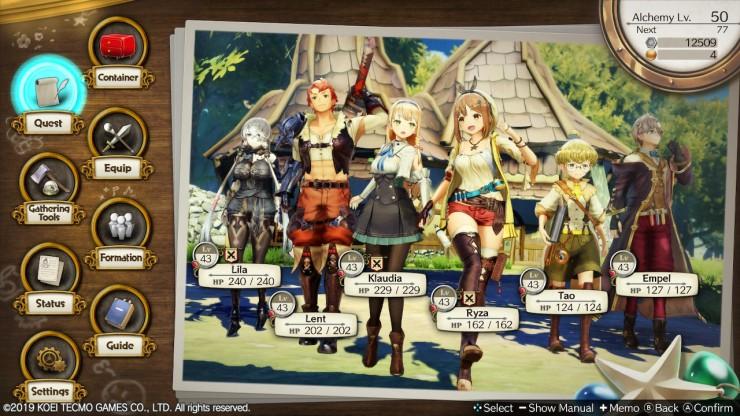 Menu Layout and UI Atelier Ryza Otaku Rabbit Hole